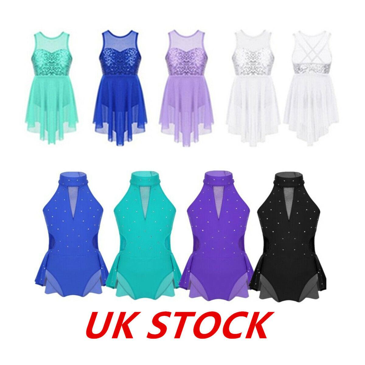 UK Girl Lyrical Ballet Dance Wear Dress Kids Sequins Leotard Tutu Skirt Costumes