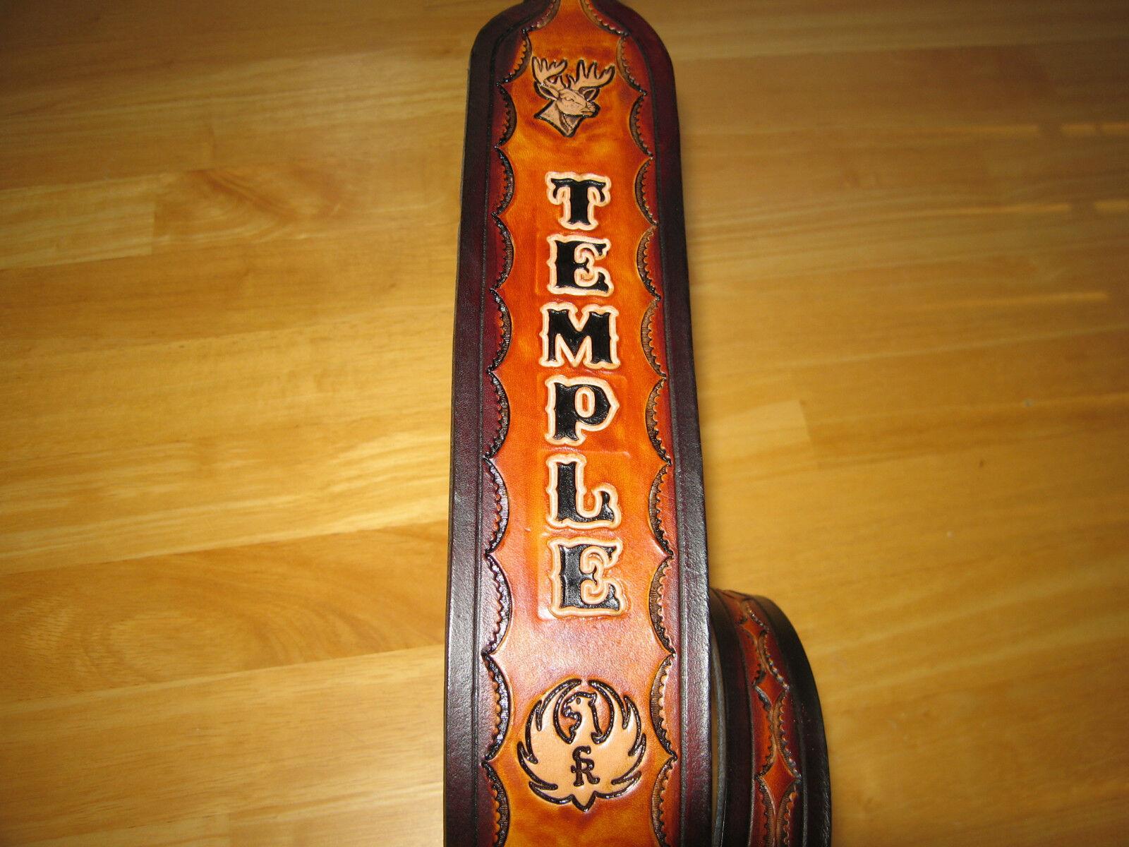 Personalizado cuero Rifle Sling con nombre   deerhead   Ruger logotipo tan & marrón