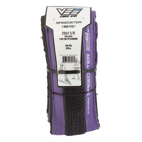 20x1-1//8 Vee Rubber Speedster Folding Kev BMX tire 110psi Black w// PURPLE Side