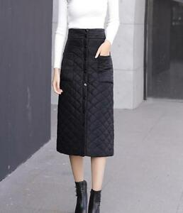 64d18a306 Women Down Puffer Long Skirt Lightly Quilted Padded Black Bubble A ...
