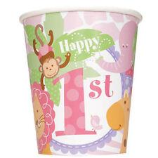 1st BIRTHDAY Pink Safari 9oz PAPER CUPS (8) ~ Party Supplies Beverage Drinking