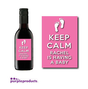 10 X Personalised Keep Calm Baby Shower Mini Wine Bottle Gift Labels