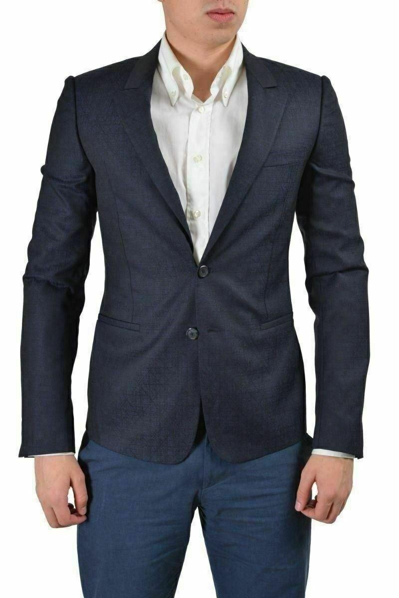 Gianni Versace Men's Dark bluee Wool Silk Sport Coat Blazer US 38 IT 48