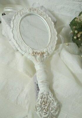 Creatief Romantischer Handspiegel Spiegel Barock Frisierkommodenspiegel Shabby Weiß