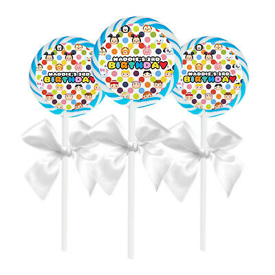 """24 Tsum Tsum Birthday Party Personalized 1.65/"""" Lollipop Stickers or Seals"""