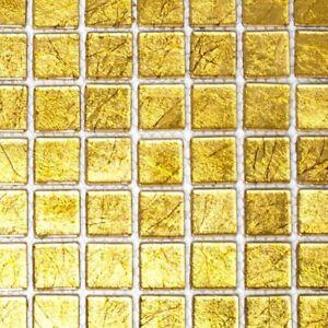 Vetro-mosaico-UNI-oro-struttura-Specchio-Piastrelle-Cucina-Muro-Art-120-0782-10-Tappetini