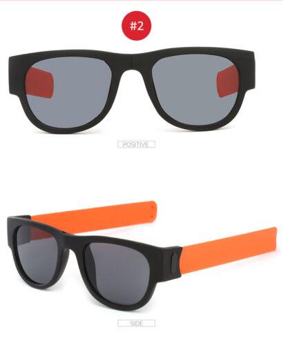 Slap On Wristband Mens Womens Polarized Sunglasses Folding Design
