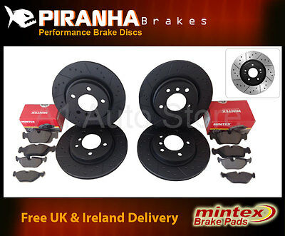 Hyundai Coupe 2.0 96-99 Front Rear Brake Discs Black Dimpled Grooved Mintex Pads