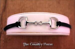 Horse-Bit-Bracelet-Black-Leather-Band-Shiny-Rhodium-Finish-Metal-Cross-Charm
