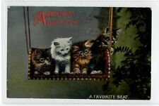 (Sc315-100)  A Birthday Greeting A Favorite Seat, Cats, unused ,Vg