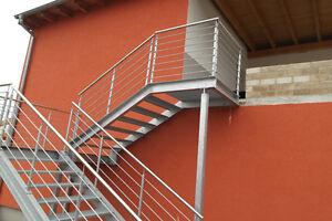 Das Bild Wird Geladen Feuerverzinkte Treppe Aussentreppe Stahltreppe Mit Gelaender Und Podest