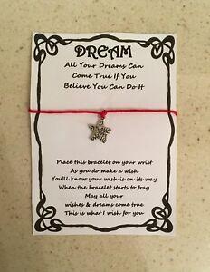 Details about WISH BRACELET FRIEND BELIEVE IN YOUR DREAMS GIFT CARD POEM  VARIOUS COLOURS CHARM