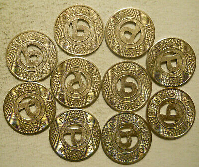 CA575G Lot of 10 Peerless Stages System transit tokens Oakland, California