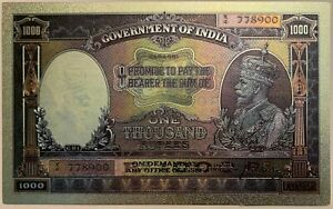 INDIA-1000-RUPEES-1928-KARACHI-RARE-KING-GEORGE-V-superb-polymer-banknote