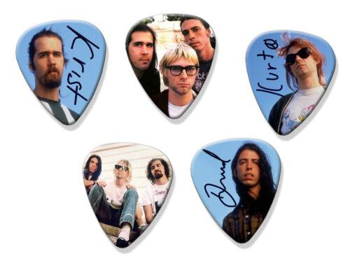 Nirvana Kurt Cobain Dave Grohl 5 X Signed Guitar Picks