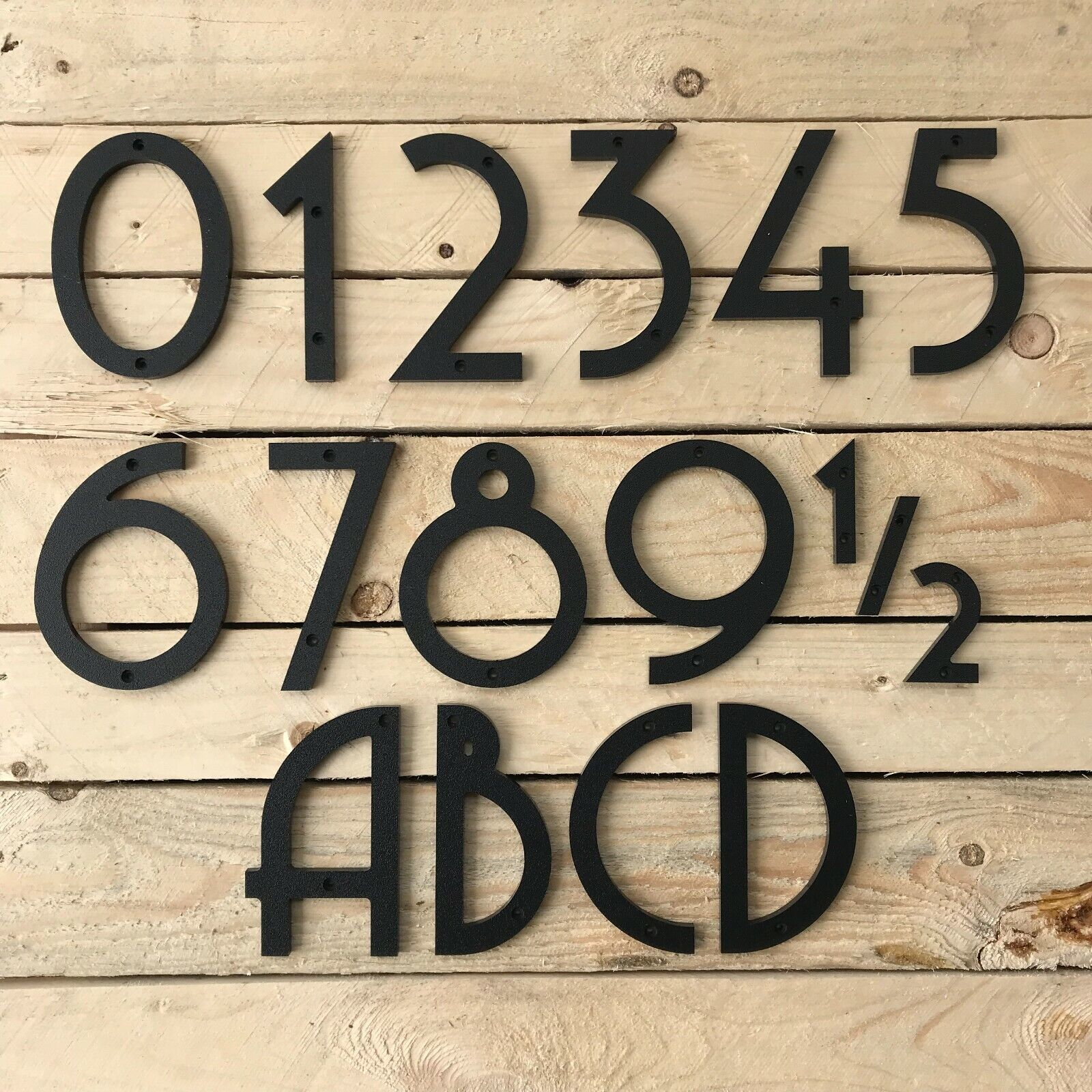 6 inch Art Deco House Numbers Letters, color choices