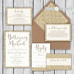 Personalised-Luxury-Wedding-Invitations-GOLD-GLITTER-effect-packs-of-10