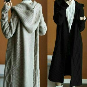 Damen-Pullover-Kapuze-Strickmantel-Jacke-Strickjacke-Outwearlinie-Locker-NEU