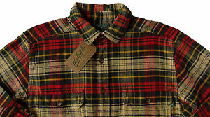 Men-039-s-WOOLRICH-Ecru-Green-Red-Plaid-Flannel-Cotton-Shirt-Jacket-Large-L-NWT-NEW