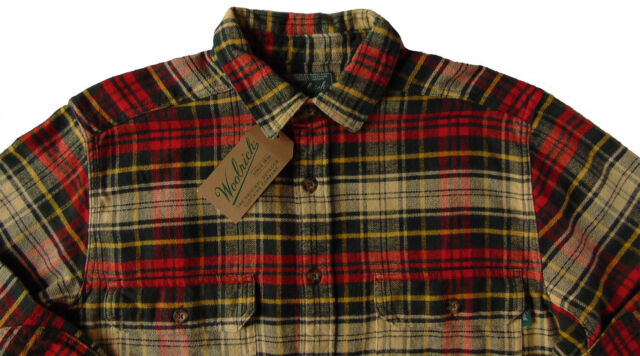 Men's WOOLRICH Ecru Green Red Plaid Flannel Cotton Shirt Jacket Large L NWT NEW