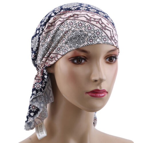 Women Wrinkle Head Scarf Chemo Hat Turban Pre-Tied Headwear Bandana Caps G