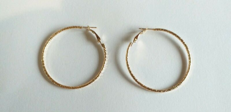 New Pair Of 5cm Fashion Gold Hoop Earrings £1.49 Free Postage
