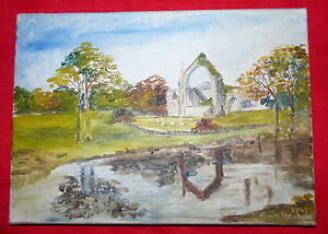 Signed-Peter-Abrahams-1967-Original-Oil-on-Canvas-Landscape-Abbey-Lake