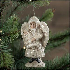 5-034-Ragon-House-Glitter-Angel-White-Christmas-Tree-Ornament-Victorian-Vntg-Decor