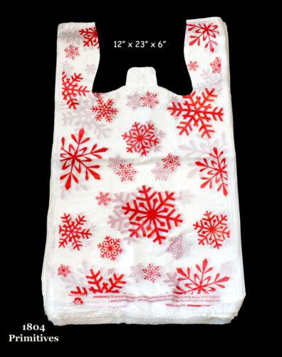 """50 Red SNOWFLAKE Plastic T-Shirt Bags ~ Christmas Winter ~ 12/"""" x 23/"""" x 6/"""""""