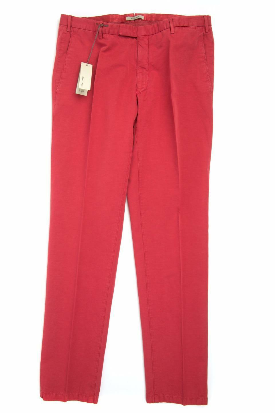 Boglioli NWT  Red Cotton Linen Slim Flat Front Pants Trousers 54 IT 38 US