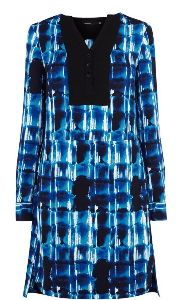 KAREN MILLEN Blau GRAPHIC PRINT LONG SLEEVE TUNIC LOOSE SHIRT DRESS 10