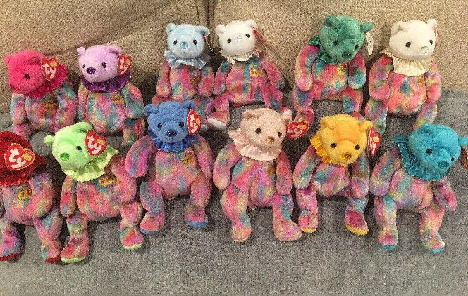 TY BEANIE BABIES-12 BIRTHDAY BEARS JAN-DEC TY BEANIE BABY COLLECTIBLE 2001