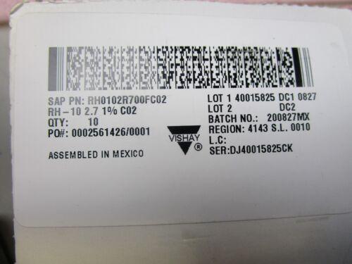 10 NEW Vishay Dale RH-10 2.7 Ohm 1/%10W Aluminum Case Resistors RH0102R700FC02
