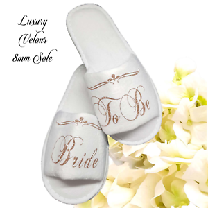 Wedding Personalised Bride Bridesmaid Hen Bridal Slippers Guest Roles ROSE GOLD