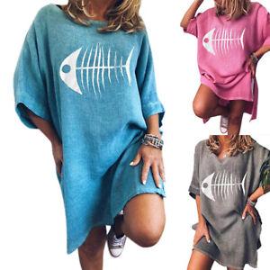 fcb06b7fcb Das Bild wird geladen Damen-Rundhals-Tunika-Sommer-Longshirt-Lose -Shirtkleid-Lange-