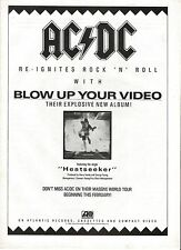 AC/DC Blow Up Your Video (white) UK magazine ADVERT/Poster/Clipping 11x8 inches