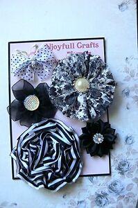 HANDMADE-5-Flower-amp-Butterfly-BLACK-WHITE-LaceOrganzaCotton-35-70mm-NjoyfullCrafts