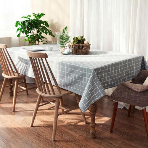 Polyester abwischbare Nappe salle à manger table de cuisine couvercle gris 140x180cm