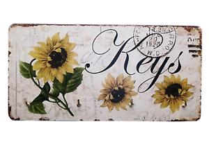 Shabby-Chic-Sunflowers-Keys-Key-Rack-Holder-4-Metal-Hooks-Wooden-19-5cm-SG1736