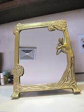 Vintage Art Nouveau Solid Brass Vanity Mirror Figural Women