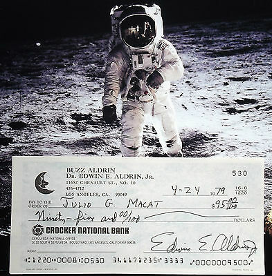 Buzz Aldrin Apollo 11 Mission Lunar Module Pilot Signed Check Authentic .