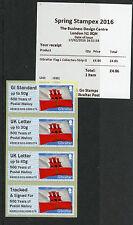 Gibraltar 2016 MNH Post & Go Postal Hist OVPT Spring Stampex 4v Coll Strip GI01