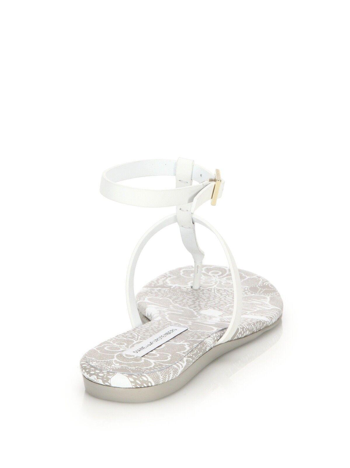 NEW DVF DIANE Schuhe FURSTENBERG PERUGIA T-STRAP SANDALS WEISS LEATHER Schuhe DIANE 10 40 9388a8