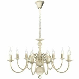 vidaXL-Chandelier-8xE14-Bulbs-Antique-White-Metal-Pendant-Lamp-Ceiling-Light