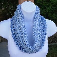 SUMMER COWL SCARF Light Blue & White Short Crochet Knit Handmade Infinity Loop