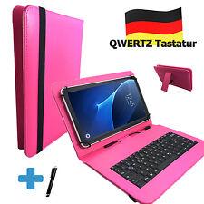 Deutsche Tastatur Hülle - Samsung Galaxy Tab A6 - 10.1 zoll Tasche Qwertz Pink