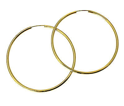 14k Yellow Gold 1.5mm Thickness Endless Hoop Earrings 50 x 50 mm