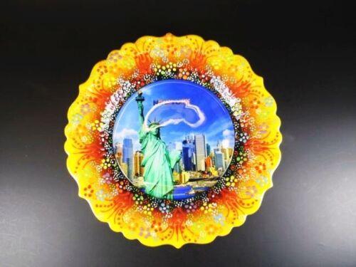 New York Freiheitsstatue USA Souvenir Teller Plate 25 cm,Keramikteller,(4)