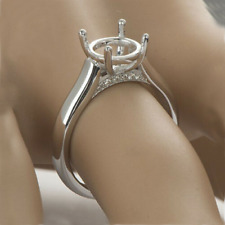 Semi Mount Round 8mm 0.2CT Diamonds Engagement Ring Setting Solid 14k White Gold