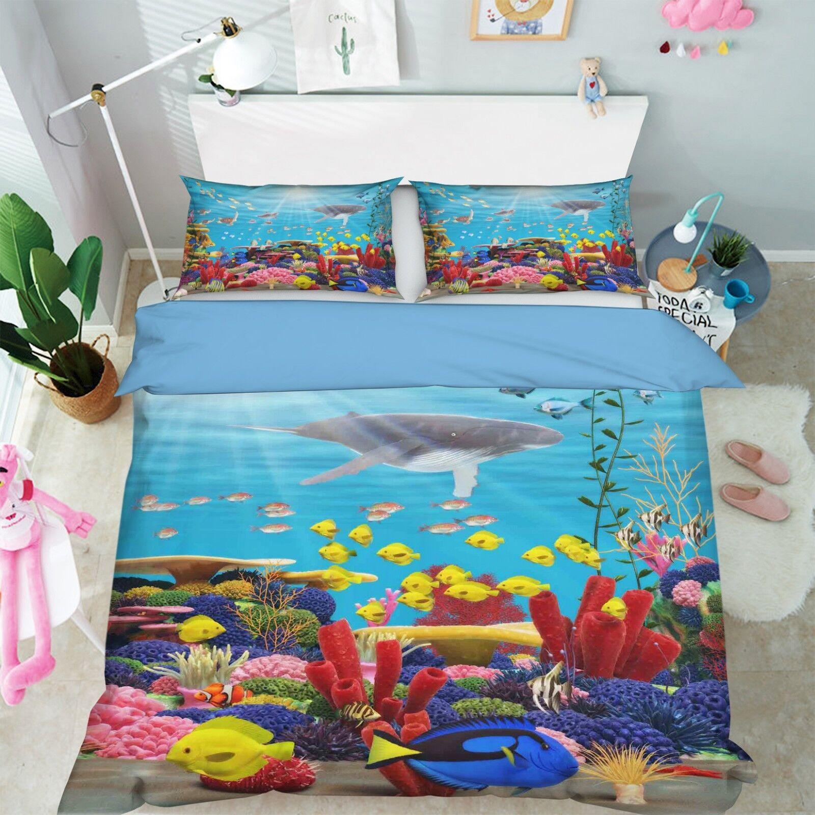 3D Schöner Korallen Meer 45 Bett Kissenbezüge steppen Duvet Decken Set Single DE